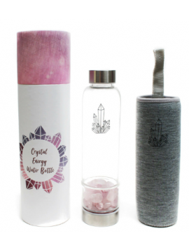 Amethyst or Rose Quartz Crystal Energy Water Bottle